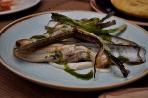 Sautéed razor clams